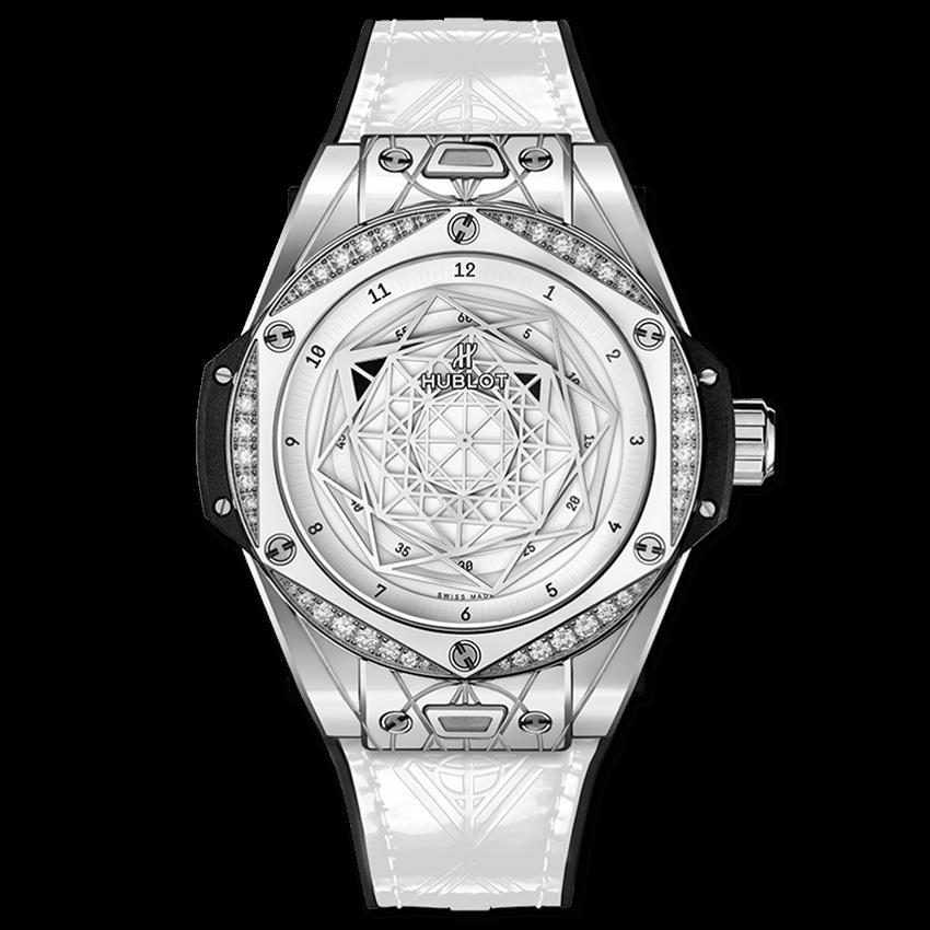 ウブロ ビッグ・バン ワンクリック サンブルー                                                              スチール ホワイト ダイヤモンド