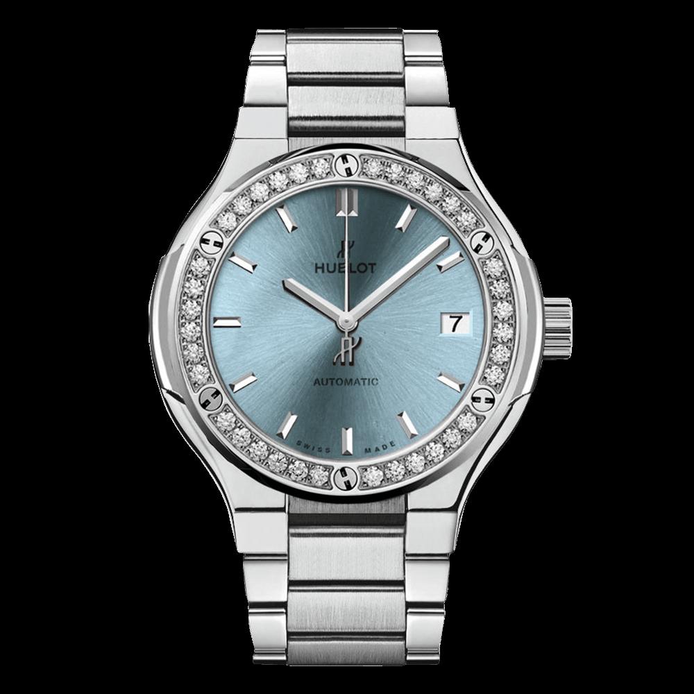 ウブロ クラシック・フュージョン チタニウム                                                              ライトブルー ダイヤモンド ブレスレット